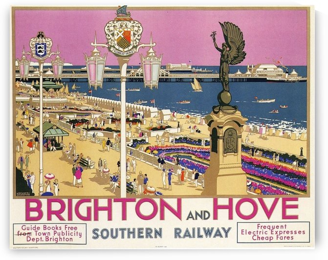 Brighton and Hove vintage railway travel poster by VINTAGE POSTER