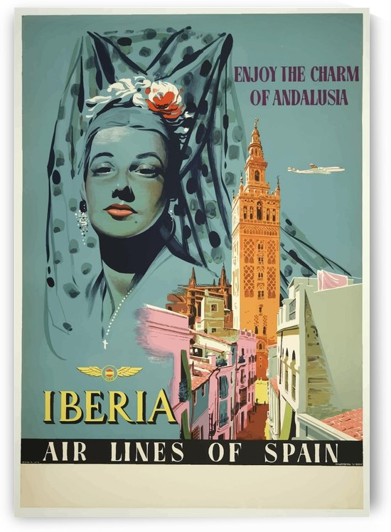 Iberia Air Lines of Spain vintage travel poster for Andalusia by VINTAGE POSTER