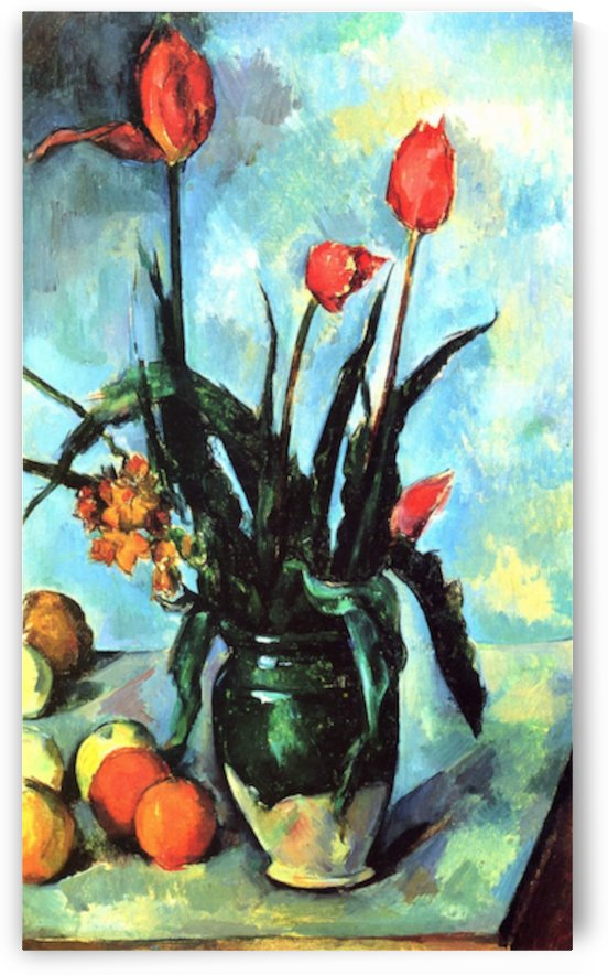 Still Life, vase with Tulips by Cezanne by Cezanne