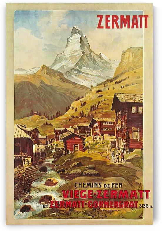 Chemins de fer Viege - Zermatt et Zermatt - Gornergrat 1898 poster by VINTAGE POSTER