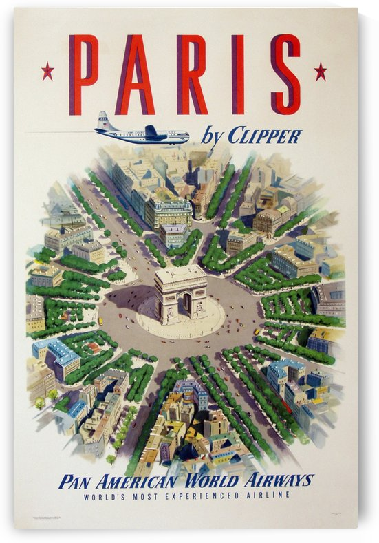 Pan American World Airways Paris vintage poster by VINTAGE POSTER
