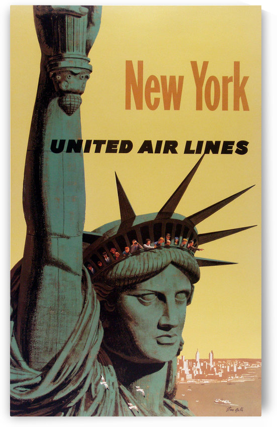 New York United Air Lines Statue of Liberty poster by VINTAGE POSTER
