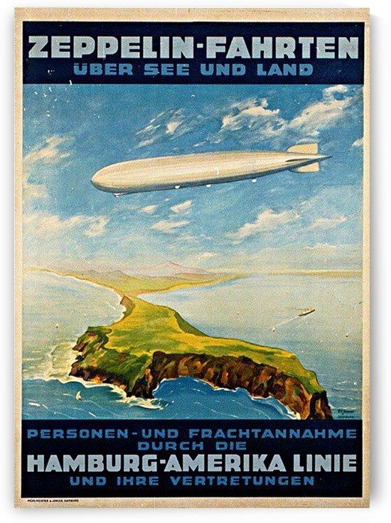 Zeppelin Hamburg America Line Poster by VINTAGE POSTER