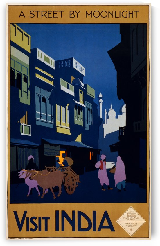 Visit India street by moonlight travel poster by VINTAGE POSTER