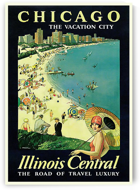 1929 Chicago Travel Advertisement Art Picture Poster by VINTAGE POSTER