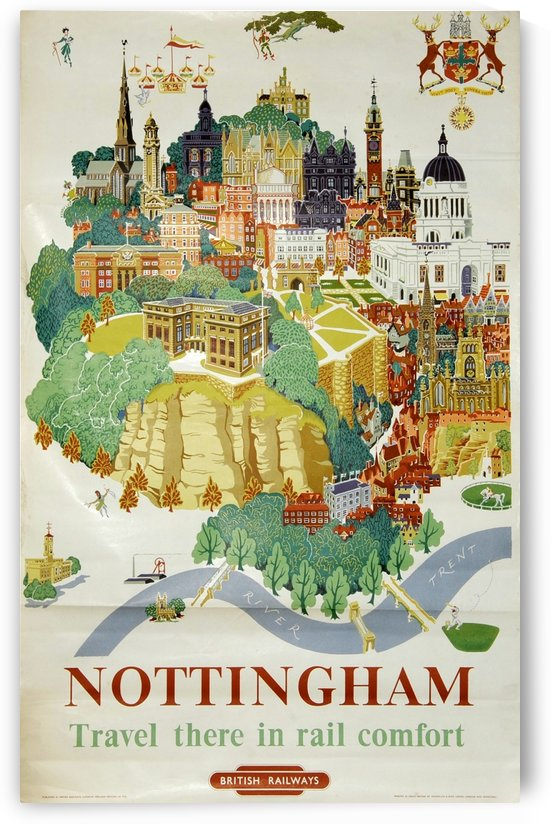 Nottingham vintage travel poster for British Railways by VINTAGE POSTER