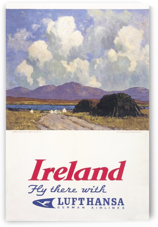 Ireland Fly there with Lufthansa by VINTAGE POSTER