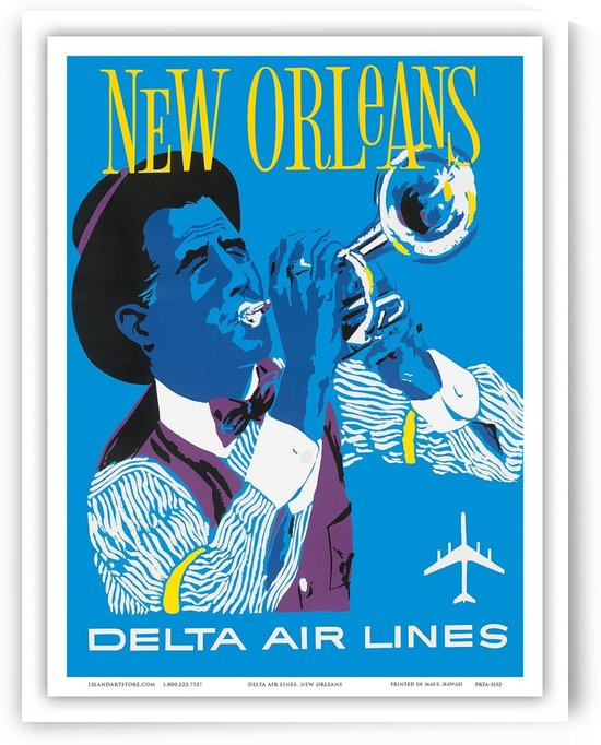 Delta Air Lines New Orleans USA Vintage Travel Poster by VINTAGE POSTER