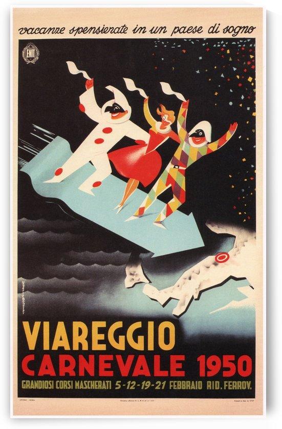 Viareggio Carnevale Retro Travel Poster 1950 by VINTAGE POSTER