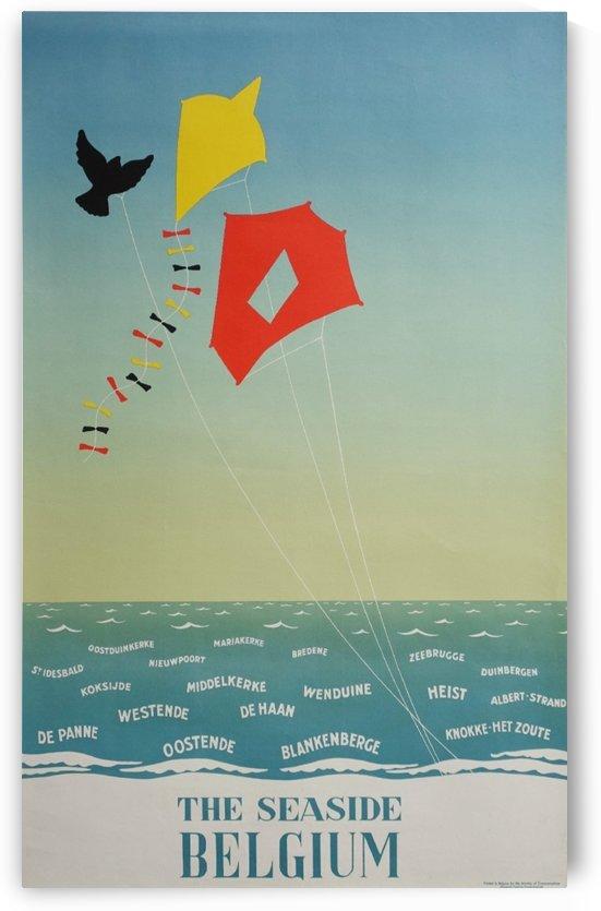 1950 Belgium seaside original travel vintage poster by VINTAGE POSTER