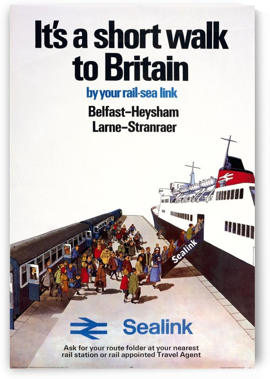 Sealink Belfast - Heysham Larne - Stranraer shipping railway travel poster by VINTAGE POSTER