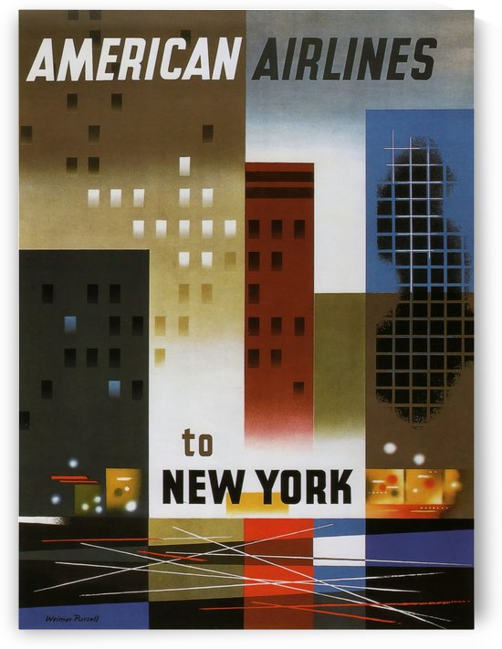 American Airlines to New York Travel Poster 1940 by VINTAGE POSTER