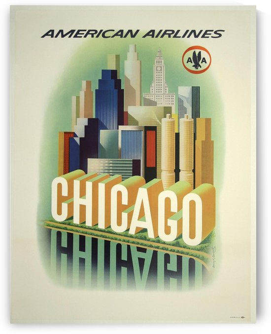 American Airlines Chicago by VINTAGE POSTER