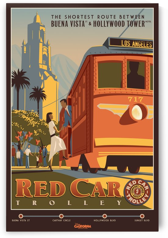 Red Car Trolley by VINTAGE POSTER
