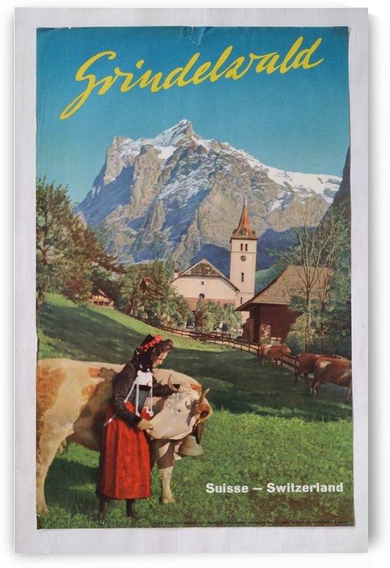 1960 Grindelwald Switzerland original vintage poster by VINTAGE POSTER
