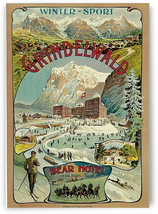 1893 Grindelwald travel advertisement poster by VINTAGE POSTER