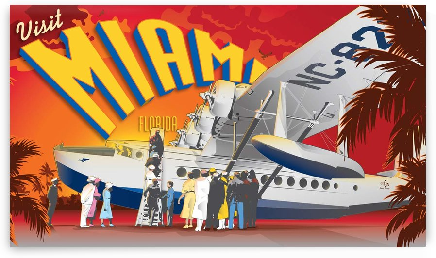 Vectree Vintage Miami Florida travel poster by VINTAGE POSTER