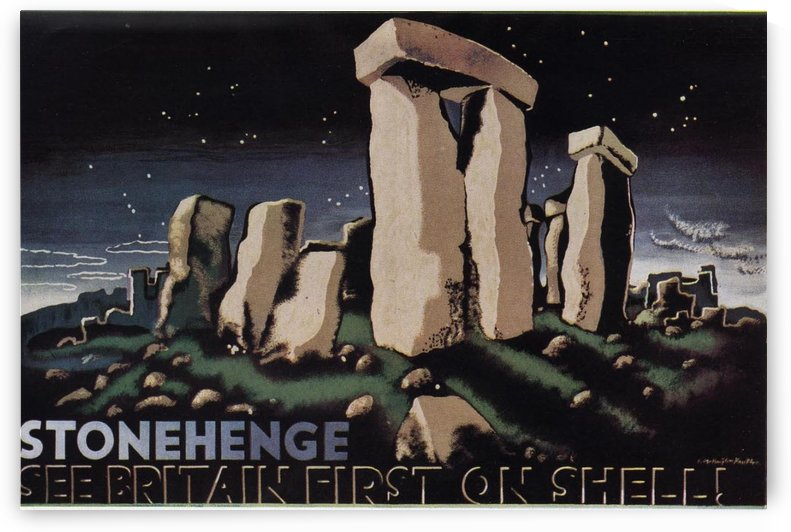 Stonehenge See Britain first on shell by VINTAGE POSTER