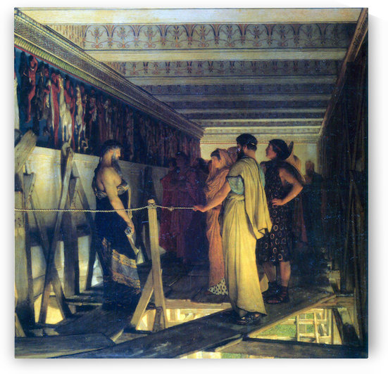 Phidias shows his friends from the Parthenon frieze, detail by Alma-Tadema by Alma-Tadema
