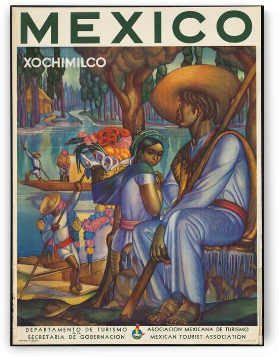 Mexico Xochimilco vintage poster by VINTAGE POSTER