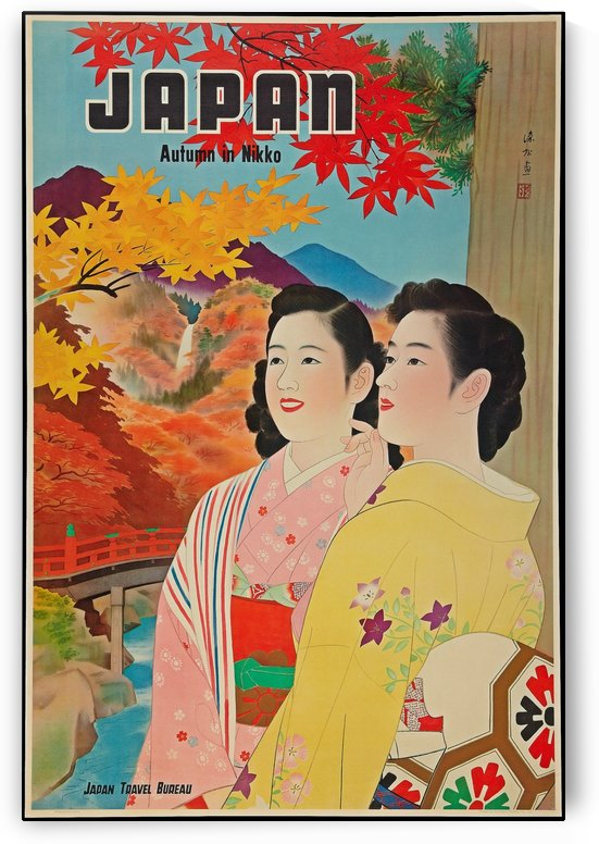 Japan Autumn in Nikko travel poster by VINTAGE POSTER