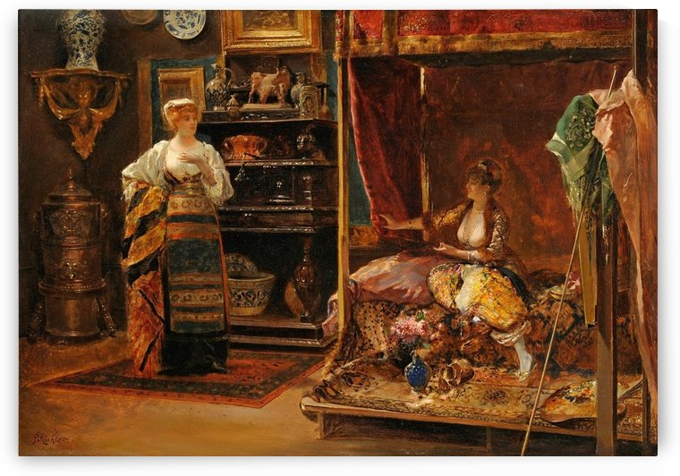 In the studio of the artist by Edouard Frederic Wilhelm Richter
