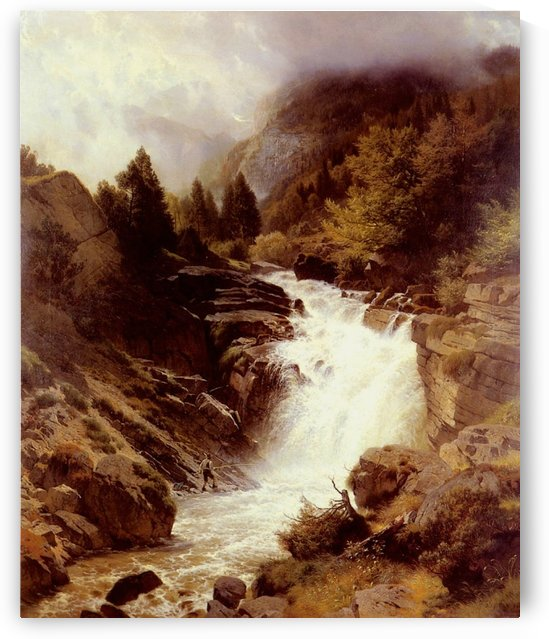 A Waterfall in The Bavarian Alps by Johann Gottfried Steffan