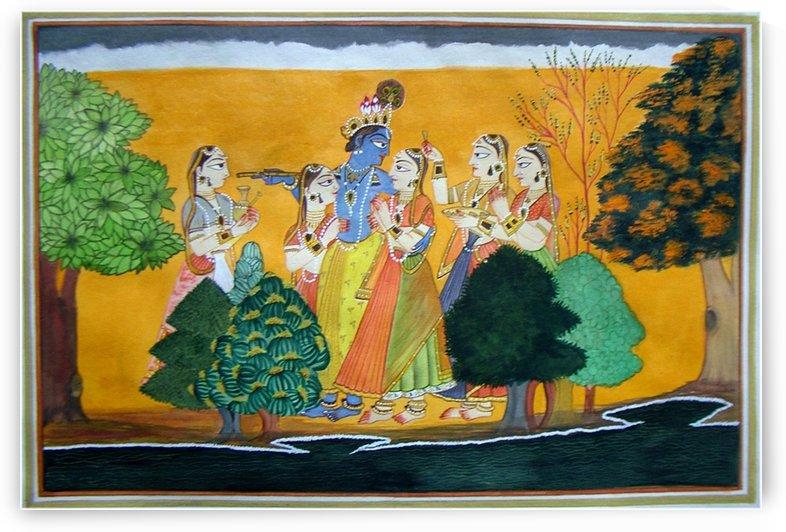 Krishna ,Radha  and Gopies by Mrs Neeraj Parswal