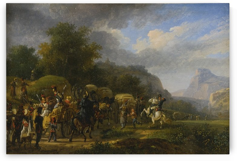 A military convoy in a mountainous landscape, 1820 by Auguste-Xavier Leprince