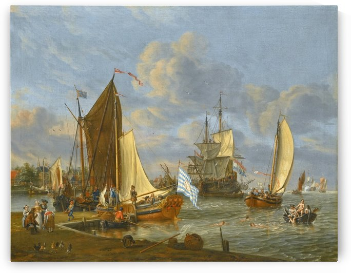 A Dutch harbour scene by Abraham Storck