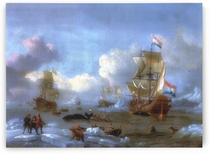 Walfang im Eismeer by Abraham Storck