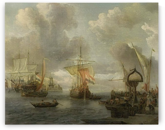 View of a Harbour on the Zuiderzee by Abraham Storck
