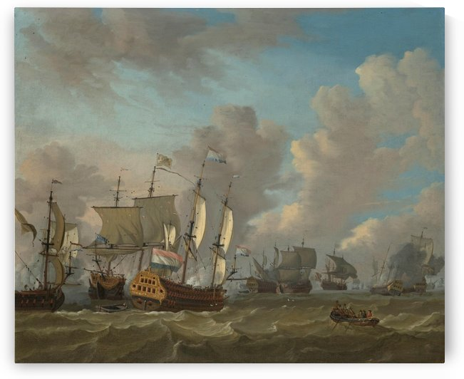 Dutch ships in a naval skirmish by Abraham Storck
