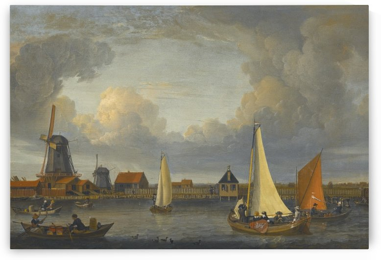 A river landscape with fishermen in rowing boats by Abraham Storck
