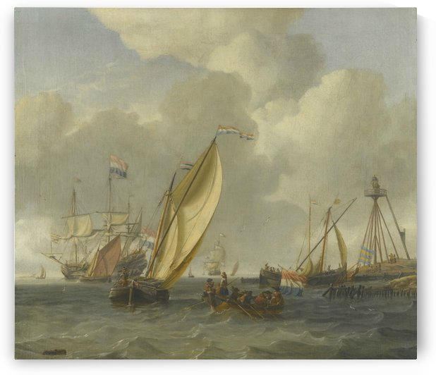 Dutch ships on choppy coastal waters by a spit of land with a beacon by Abraham Storck
