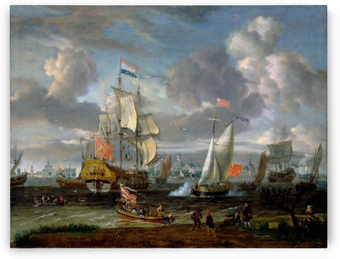 An English yacht saluting Dutch Man-of-War in the port of Rotterdam by Abraham Storck