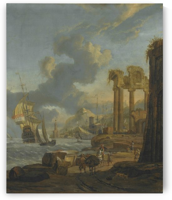 A Mediterranean harbour scene with travellers on the shore by Abraham Storck