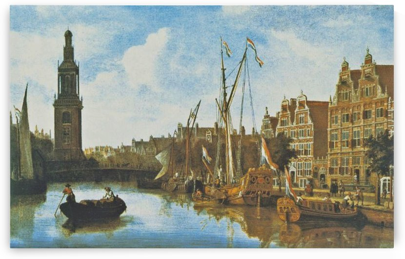 Singel in Amsterdam with the Jan Roodenpoortstoren by Abraham Storck