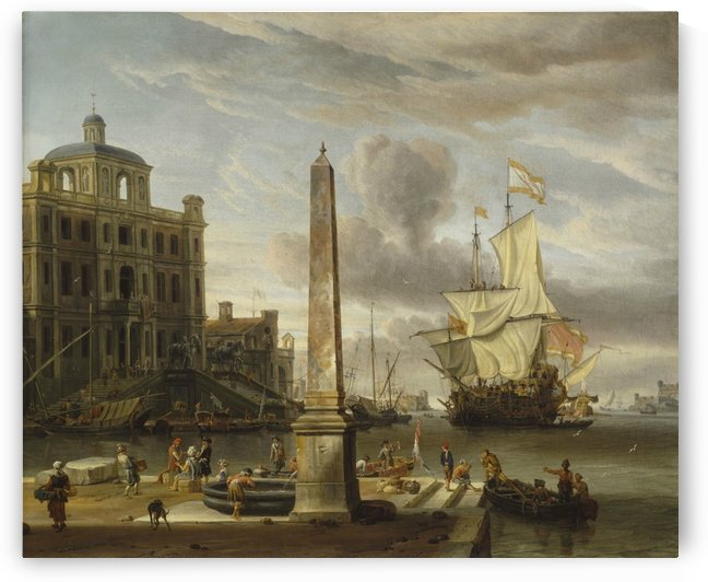 Italianate Harbour View with a Fantasy Building and Man-of-War by Abraham Storck