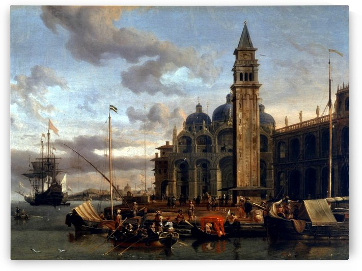 A Venetian Capriccio with Dutch merchant by Abraham Storck