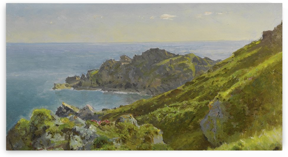 Coastline with grassy slope by William Trost Richards