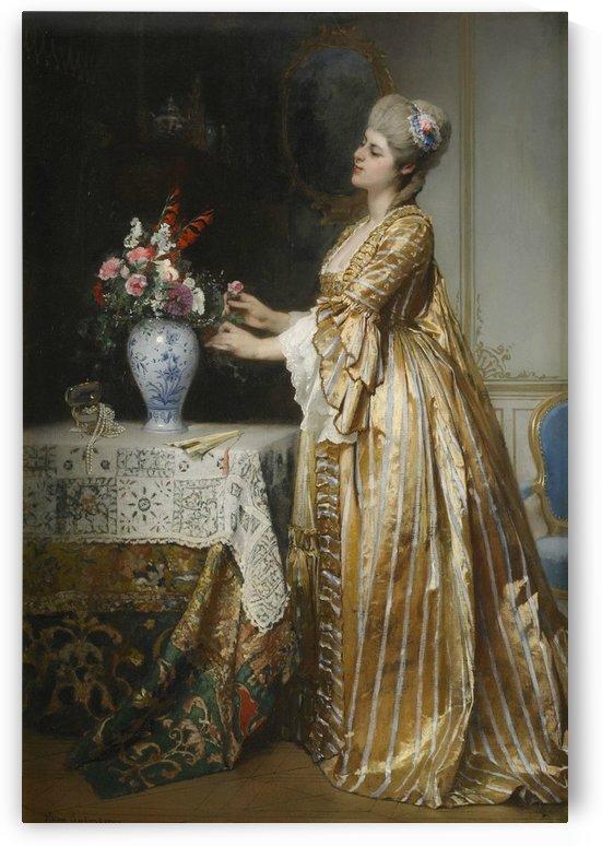 An elegant lady in a parlor by Hugo Salmson
