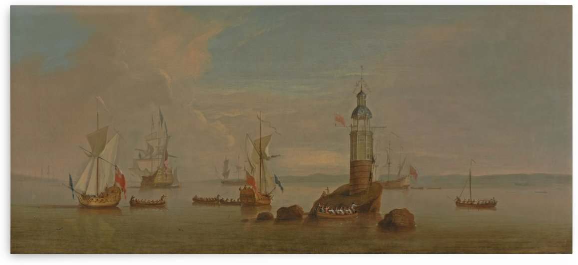 The Opening of the First Eddystone Lighthouse in 1698 by Peter Monamy
