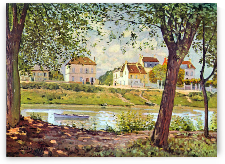 Village on the banks of the Seine by Sisley by Sisley