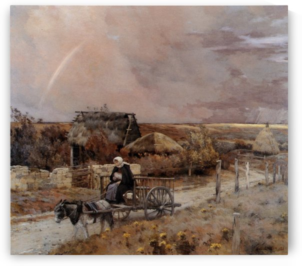 A woman in a carrige by Jean Charles Cazin