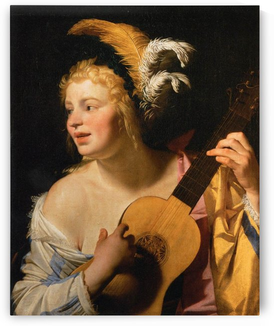 Woman Playing the Guitar by Gerrit van Honthorst
