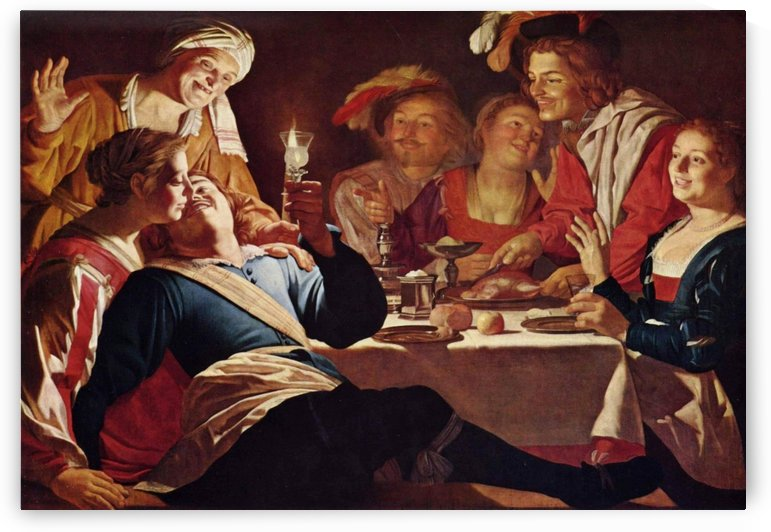 A party of men and women by Gerrit van Honthorst