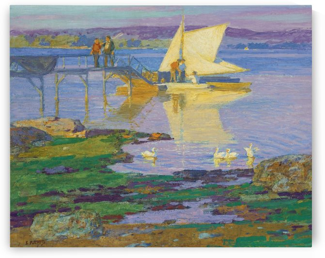 A boat with people by the dock by Edward Henry Potthast