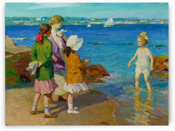 At The Beach and Cold Feet by Edward Henry Potthast