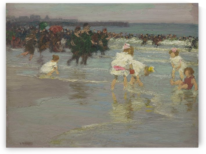 Beach scene with lots of people by Edward Henry Potthast
